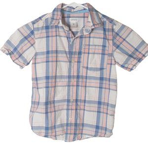 Carters pink blue stripped button up 6